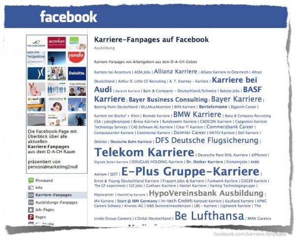 Karriere Fanpages auf Facebook
