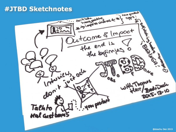Sketchnotes JTBD Talk 2015