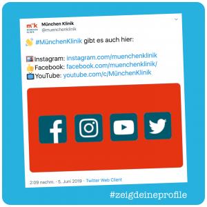 Screenshot Tweet mit Social Media Profilen